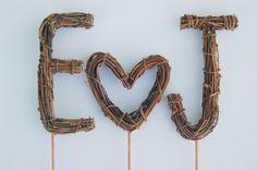 Twig Wedding Cake Topper - Custom Twig Monogram / Initials with HEART by Made Merri. Chic Wedding, Rustic Wedding, Our Wedding, When I Get Married, I Got Married, Custom Wedding Cake Toppers, Wedding Cakes, Monogram Initials, Country Chic