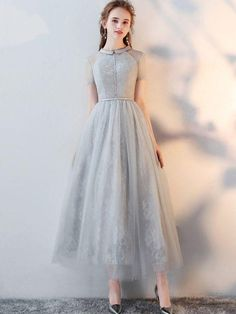 Gray Lace Turn-down Collar Short Sleeves Tulle A-Line Dresse, Shop plus-sized prom dresses for curvy figures and plus-size party dresses. Ball gowns for prom in plus sizes and short plus-sized prom dresses for Prom Dresses With Sleeves, Tulle Prom Dress, Lace Evening Dresses, Homecoming Dresses, Lace Dress, Short Dresses, Wedding Dresses, Sexy Dresses, Gray Dress