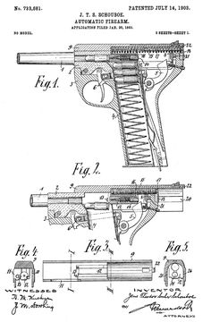The Schouboe Automatic Pistol. Weapons Guns, Guns And Ammo, Blacksmith Tools, Patent Drawing, Blacksmithing, Firearms, Hand Guns, Revolvers, Homemade