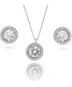conjunto ponto de luz prata com zirconias semi joia
