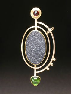 "Yumi Ueno Art Jewelry & Metal : Jewelry Gallery : Brooch. "" Reflection "" ( can be pendant ) Drusy agate, Garnet, Tourmaline, 22,18,14KG, S.S."