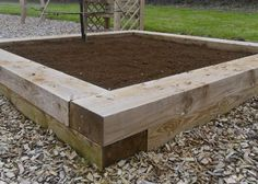 Raised bed with timber sleepers