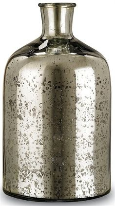 Currey Cypriot Bottle Small in Antique Silver 1023 - Currey Cypriot Bottle, Small in Antique Silver 1023Beautiful mercury glass accent bottle. The antique silver surface reflects a classic sense of age. The cylindrical, petite form is complemented seamlessly in conjunction with the medium and/or large Cypriot Bottle(s).Sku: 1023Manufacturer: CurreyColor: Antique SilverMaterial: Mercury GlassWeight: 4Package: 5Shipping: P-O/SCategory: AccessoriesDimensions: 7D X 12H