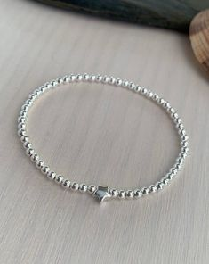Sterling silver star bracelet minimal gift for her Gifts For Mum, Gifts For Girls, Stretch Bracelets, Beaded Bracelets, Flower Girl Gifts, Silver Stars, Sterling Silver Bracelets, Minimal, Etsy