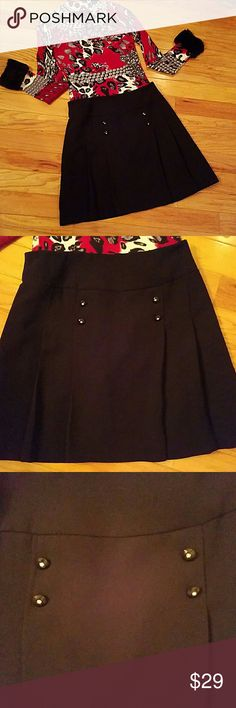 SC collection little black skirt Adorable little black skirt with slight pleats and double studs! So cute with Boston proper sweater in picture. Add with a black tights for a great fall to winter look! Skirts Mini