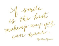 A smile is the best makeup any girl can wear. Marilyn Monroe, Typographic Calligraphy Print of my handwriting. This illustration and word art print