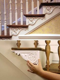Futuristische Architektur - Dress up your stairs with decorative brackets. Stair Banister, Banisters, Railings, Diy Kitchen Decor, Diy Home Decor, Stair Brackets, Stair Renovation, Corner Moulding, Decorative Brackets