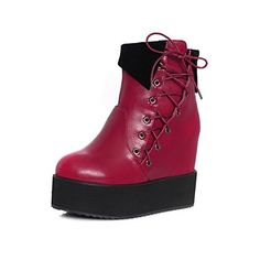 VogueZone009 Womens Assorted Color PU Boots with Metal Finishing and Slipping Sole Red 44 >>> You can get more details by clicking on the image.(This is an Amazon affiliate link and I receive a commission for the sales)