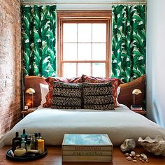 Tiny bedroom with jungle leaf curtains Leaf Curtains, Beautiful Bedrooms, Small Spaces, Interior, Home, Home Bedroom, Tiny Bedroom, Bedroom Design, House Styles