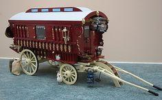 Miniature Gypsy Caravan-- notice cage etc