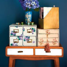 Drawers decorated with wallpaper