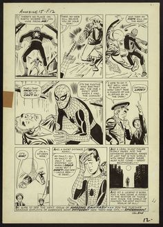 """""""With great power comes great responsibility."""" Where it all began Original art by Steve Ditko and script by Stan Lee. Amazing Fantasy April page twelve. Comic Book Pages, Comic Book Covers, Comic Book Heroes, Comic Books Art, Book Art, Amazing Fantasy 15, Steve Ditko, Classic Comics, Jack Kirby"""