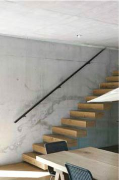 Raw concrete and wooden stairs, I actually like the look
