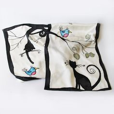 Silk scarf handpainted  cat and bird silk batik shawl by LIAKURZ, $94.00