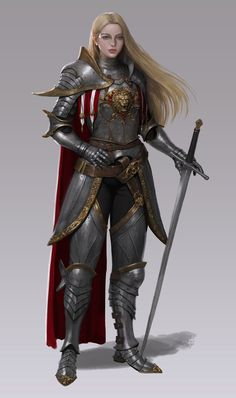 f Paladin Plate Armor Cloak Longsword female urban City Temple lg Fantasy Female Warrior, Female Armor, Female Knight, Fantasy Armor, Fantasy Women, Medieval Fantasy, Dungeons And Dragons Characters, Dnd Characters, Fantasy Characters