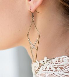 V Brass Earrings by Crow Jane Jewelry on Scoutmob Shoppe