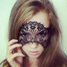 Black French Lace Face Mask or Headband Excellent for Halloween. $25.00, via Etsy.