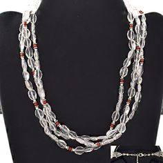 BEADED DESIGN 925 STERLING SILVER NECKLACE FOR WOMEN'S IN CRYSTAL & CORAL STONE #SilvexImagesIndiaPvtLtd #Necklace