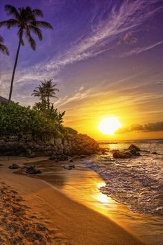 An enchanting tropical getaway, Hawaii offers vast beaches, pretty palm tree sightings, and soft sand in addition to its unique island culture. Mais Linda Do Mundo, Beautiful Sunrise, Beautiful Beaches, Beautiful Scenery, Beautiful Landscapes, Beautiful World, Palm Trees, Camper Decorating, Beautiful Pictures