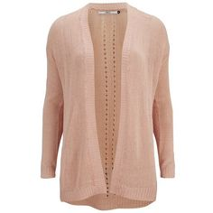 ONLY Women's Assisi Long Sleeve Cardigan (13 CHF) ❤ liked on Polyvore featuring tops, cardigans, peach, long sleeve tops, loose long sleeve tops, beige cardigan, peach cardigan and loose tops