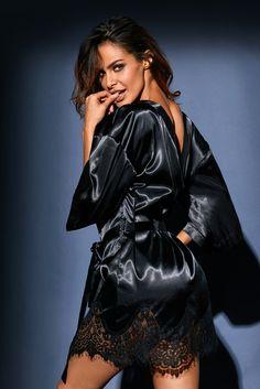 1c86b54665 Luxurious Black Satin Robe Nightwear