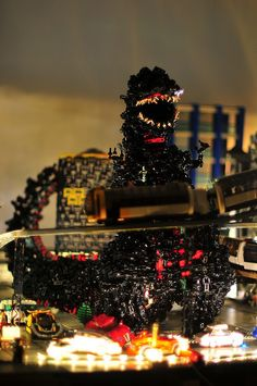 Technically, this LEGO Godzilla is in a thousand pieces All Godzilla Monsters, Godzilla Toys, Scary Monsters, Lego Mechs, Lego Bionicle, Lego Universe, Lego Bots, Amazing Lego Creations, Lego Pictures