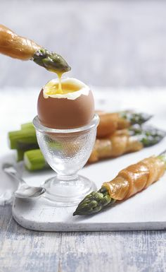 Try Heston's delicious recipe for salmon-wrapped asparagus dippers with soft-boiled eggs. Find more recipes like this on the Waitrose website.
