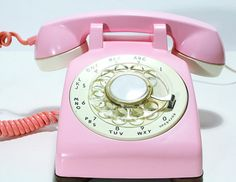 Refurbished Bell Rotary Aqua Pink Phone by FishboneDeco on Etsy, $ 85.00
