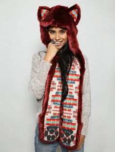 Fire Wolf 2.0 Collectors Edition faux fur animal inspired hood (100% Vegan). Unisex (one size fits most).