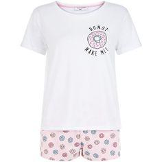 New Look Teens Pink Donut Wake Me Pyjama Set ( 13) ❤ liked on Polyvore 657e11228