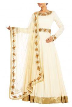 Lashkaraa Cream and Gold Silk Anarkali