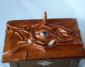 Wiccan Pagan Desk Organizer Creature Storage Altar Leather Box