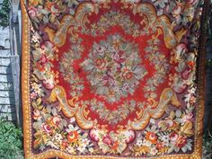 ANTIQUE VINTAGE VICTORIAN FLORAL CHENILLE VELVET RUG TABLECOVER 66x68 INCHES
