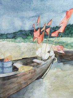 Fischerboote am Strand zwischen Thiessow und Klein Zicker | Ruhetag (c) Aquarell von Frank Koebsch