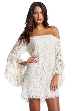 Off the shoulder lace dress with bell sleeves