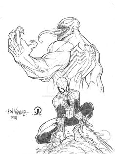Venom and Spider-Man by Ben Vazquez