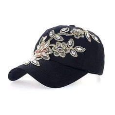Deer Mum Ladies Denim Jean Campagne Bling Ajustable Baseball Cap Cowboy Hat(flower  (Black) at Cheapcapssmall Women s Hats   C 50658da9362e