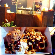 Waffles with rum, peanut, raisin and ice cream. Only 29k.  #ZuckersWaffles