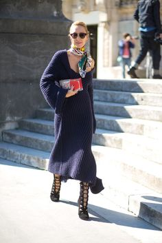 Pair a low-cut sweater dress with a colorful silk scarf. See all the best street style from Paris fashion week: Look Fashion, Daily Fashion, Street Fashion, Winter Fashion, Fashion Clothes, Fashion Outfits, Paris Fashion, Net Fashion, Fashion Weeks