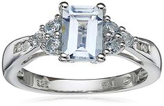Sterling Silver Aquamarine Blue Topaz and Diamond Octagon Ring Size 6 *** You can get additional details at the image link.(This is an Amazon affiliate link and I receive a commission for the sales)