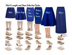 5 consejos de moda, Tipo de calzado según la falda.