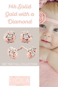 Blooming Beauty stud earrings in solid gold for babies & little girls. Every design has a diamond. Thea Jewelry, Baby Jewelry, Kids Jewelry, Baby Girl Earrings, Kids Earrings, Stud Earrings, Diamonds And Gold, Round Diamonds, Baby Bling