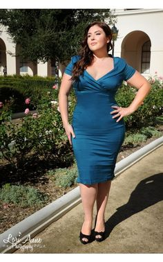 Christina Dress in Teal Sateen - Plus Size