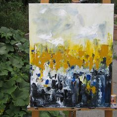 Original Abstract Art on Canvas -Busy City 16 x 20