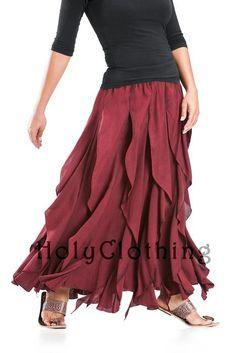 Talia Gypsy Ruffle Asymmetrical Layered Flared Peasant Skirt - Skirts
