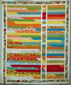 I like this variation of the jelly roll race quilt.