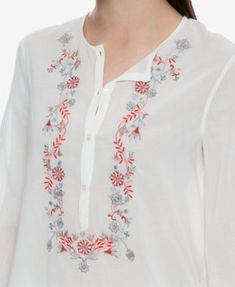 Best 12 Max Studio London Cotton Embroidered Blouse, Created for Macy's – Tan/Beige XS Embroidery On Kurtis, Kurti Embroidery Design, Embroidery On Clothes, Shirt Embroidery, Embroidered Clothes, Embroidery Fashion, Embroidered Blouse, Neck Designs For Suits, Dress Neck Designs