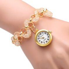 JUBAOLI 1109 Bracelet Female Quartz Twisted Stainless Steel Band Round Dial - Golden  Gold Quartz watch