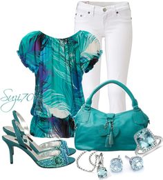 """""""Teal Contest"""" by suzi70 on Polyvore--would have to change out the shoes, but I love the colors of the shirt."""