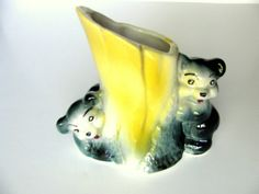 Bear Planter American Bisque Decorative Pottery Vase Black Yellow 1920s